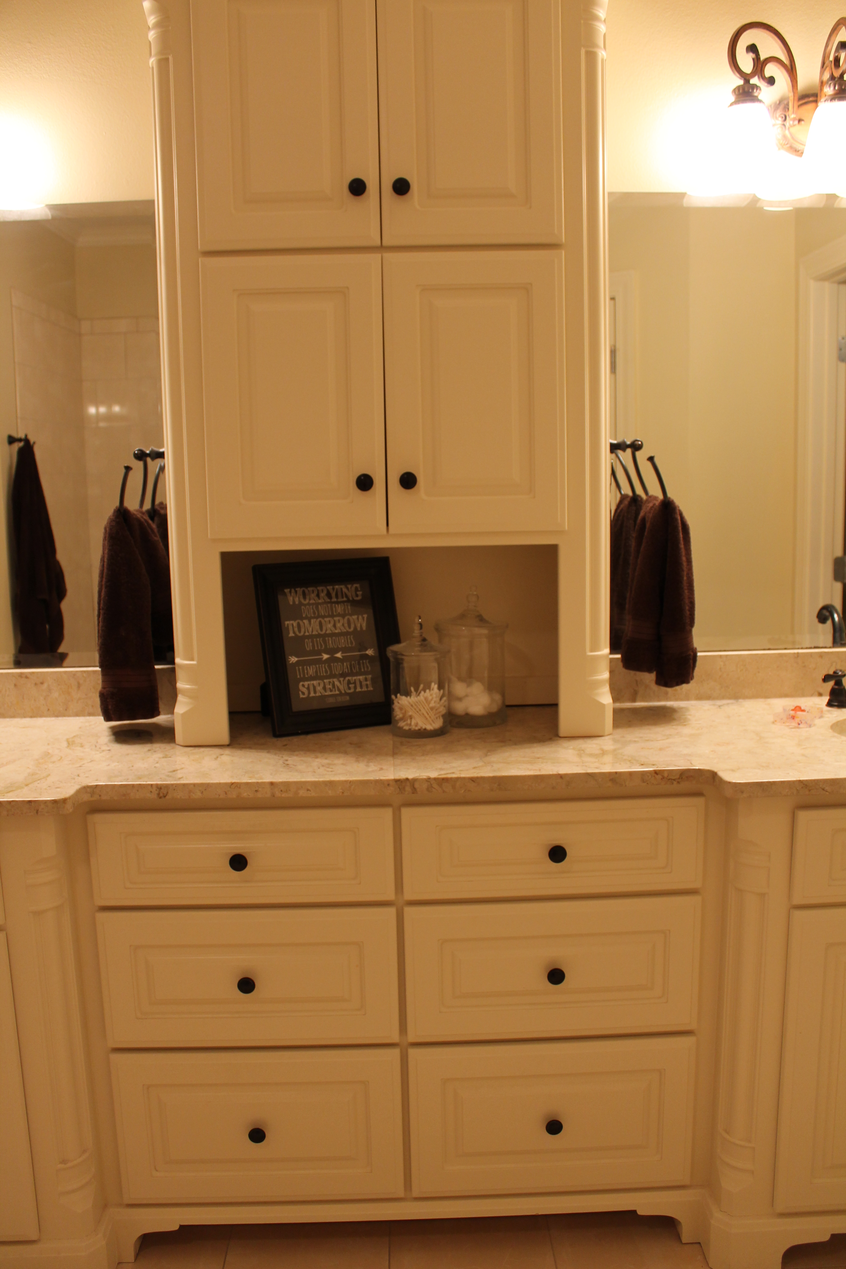 Home organization simplified organized styled - Bathroom vanities with storage towers ...